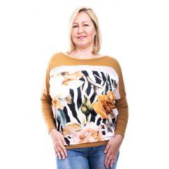 Rucy Fashion zebra mintás mustár virágos lezser felső fahéj alapon, hosszú ujjú denevér tunika