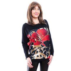 Rucy Fashion fekete alapon piros hibiszkusz mintás lezser felső, hosszú ujjú denevér tunika