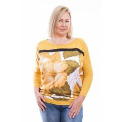 Rucy Fashion mustár virágos lezser felső lamé betéttel, hosszú mujjú denevér tunika