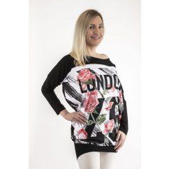 Hosszú ujjú fekete alapon London& rózsa mintás lezser felső