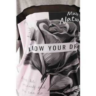 Rövid  ujjú melírszürke alapon rózsa mintás lezser felső