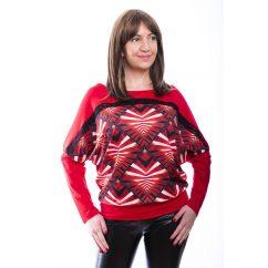 Rucy Fashion piros absztrakt mintás, hosszú ujjú, denevér fazonú, passzés felső