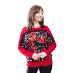 Rucy Fashion piros színű fekete alapon cirádás mintás denevér fazonú, passzés felső