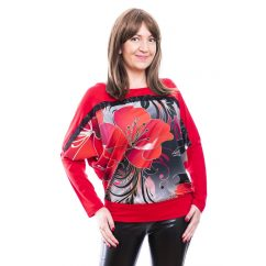 Rucy Fashion piros színű szürkés alapon virág mintás denevér fazonú, passzés felső