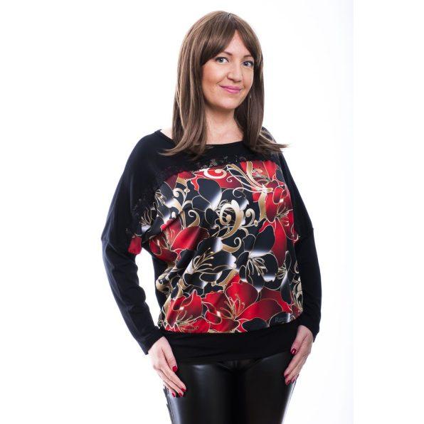 Rucy Fashion fekete alapon piros virágos-cirádás denevér fazonú, hosszú ujjú passzés felső