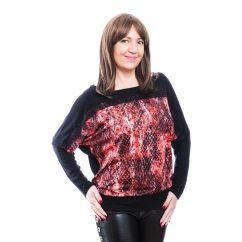 Rucy Fashion fekete alapon piros kígyó mintás denevér fazonú, passzés felső