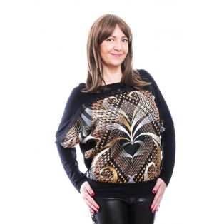 Rucy Fashion fekete alapon bronzos absztrakt mintás denevér fazonú, hosszú ujjú passzés felső