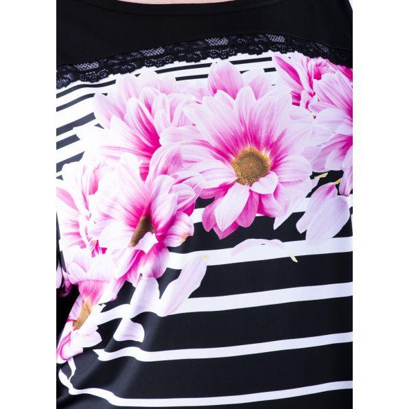 Rucy Fashion fekete alapon csíkos és virág mintás denevér fazonú passzés felső