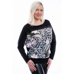 Rucy Fashion fekete párduc alapon tropical virág mintás denevér fazonú passzés felső