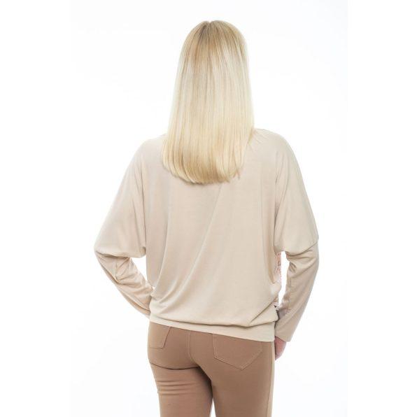 Hosszú ujjú drapp alapon kavics mintás passzés felső