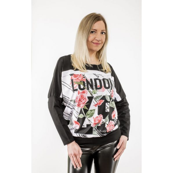 Fekete alapon London&rózsa mintás passzés felső