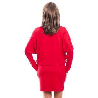 Rucy Fashion piros alapon cirádás, hosszú ujjú tunika/ruha