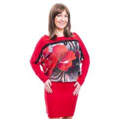 Rucy Fashion piros színű szürkés alapon virág mintás, hosszú ujjú denevér fazonú ruha / tunika