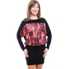 Rucy Fashion fekete alapon piros virágos-cirádás, hosszú ujjú denevér fazonú tunika / ruha