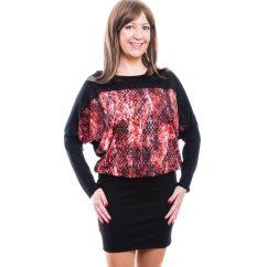 Rucy Fashion fekete alapon piros kígyó mintás hosszú ujjú denevér fazonú tunika / ruha