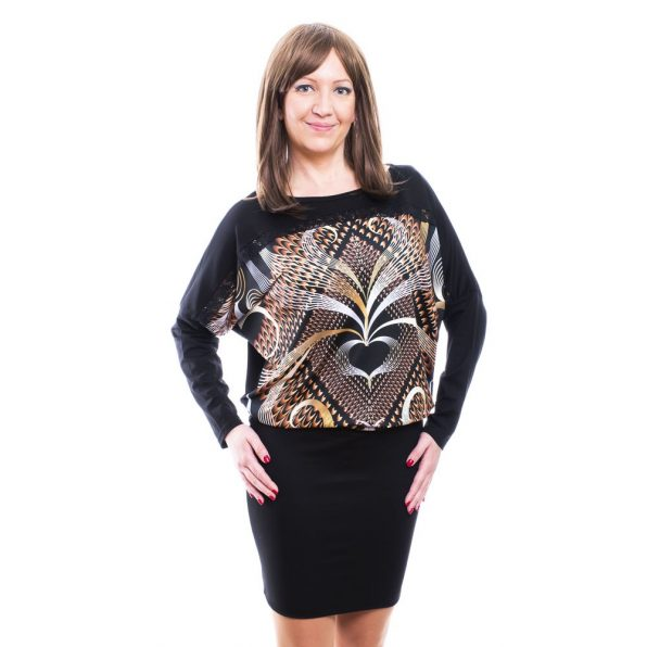 Rucy Fashion fekete alapon bronzos absztrakt mintás hosszú ujjú denevér fazonú ruha / tunika