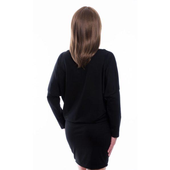 Rucy Fashion fekete alapon pöttyös virágos denevér fazonú tunika / ruha