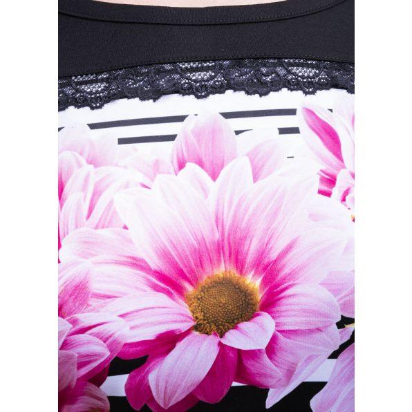 Rucy Fashion fekete alapon csíkos virágos denevér fazonú tunika / ruha