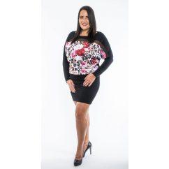 Hosszú ujjú fekete alapon párduc virág mintás ruha, tunika