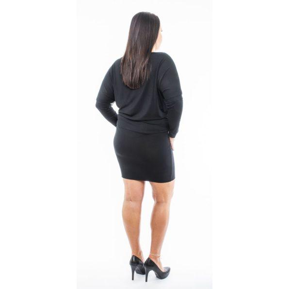 Hosszú ujjú fekete alapon tropicál mintás ruha, tunika