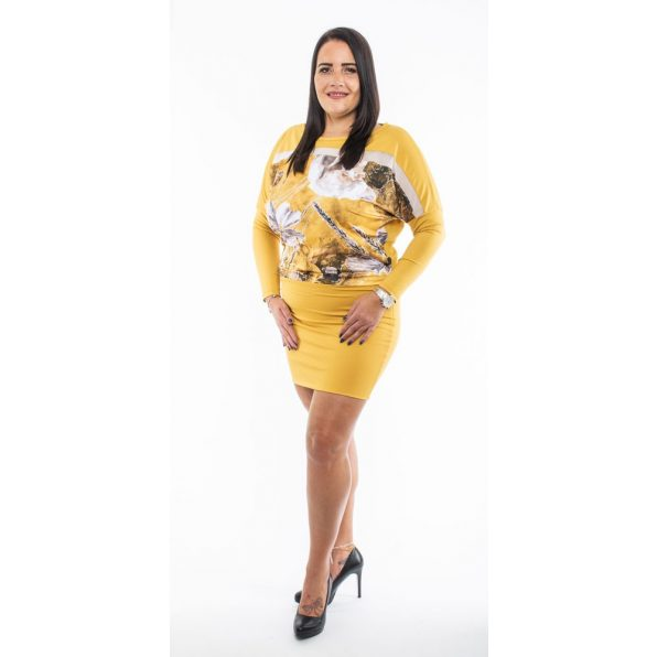 Hosszú ujjú mustár alapon virág mintás ruha, tunika