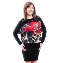 Rucy Fashion fekete alapon piros virágos denevér fazonú hosszú ujjú tunika / ruha
