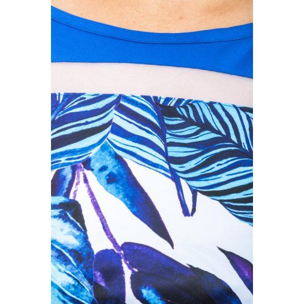 Hosszú ujjú királykék alapon pálmaleveles ruha tunika