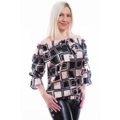 Rucy Fashion púder-fekete kockás vállán húzott selyem blúz
