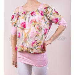 rózsaszín virágos blúz, tavaszi blúz, tavaszi alkalmi felső, csinos virágmintás blúz, szatén blúz