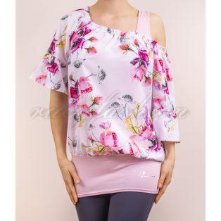 szatén blúz, virágmintás blúz, rózsaszín blúz, tavaszias blúz, virágmintás alklami felső