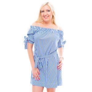 Húzott vállú csíkos ruha, derékkötővel (kék-fehér)