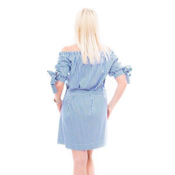 derékkötős csíkos ruha, pamutvászon ruha, hosszában csíkos nyári ruha,