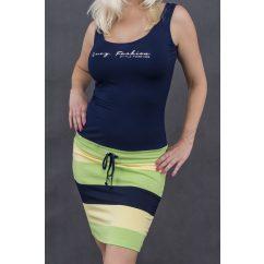 lime színű nyári ruha, kiwizöld csíkos ruha, kötős derekú trikó ruha, élénk színű nyári ruha
