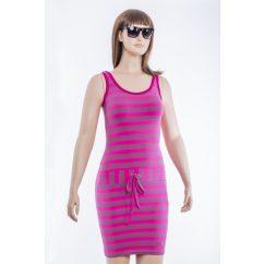 Pink-szürke mikrocsíkos, trikós, csini ruha  kötővel