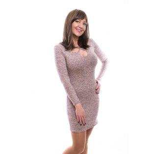Rucy Fashion púder vékony kötött, hosszú ujjú női ruha ezüst szállal, szirom formájú nyak kivágással