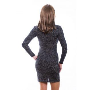 ekete, vékony kötött, hosszú ujjú női ruha ezüst szállal, szirom formájú nyak kivágással