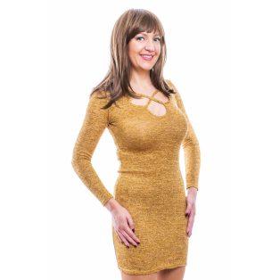 Rucy Fashion mustár vékony kötött hosszú ujjú női ruha ezüst szállal, szirom formájú nyak kivágással