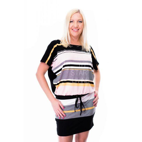 púder-sárga-fekete tunika,csíkos tunika,pasztell színú tunika,pasztell színű csíkos ruha,