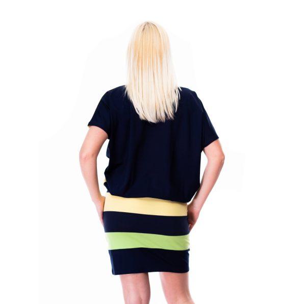 derékkötős ruha,kiwizöld csíkos ruha,lime csíkos ruha,trendi kiwizöld tunika,matrózkötős ruha