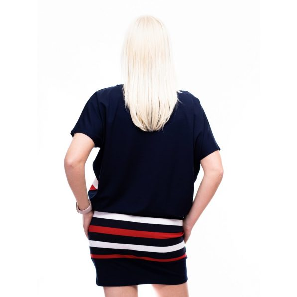 matrózcsikos tunika, kötős matróz ruha, sötékték-fehér-piros csíkos tunika,