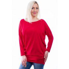 Rucy Fashion piros, hosszú ujjú, denevér fazonú lezser felső logóval