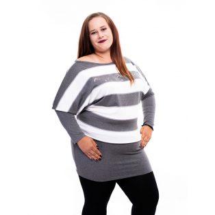 csíkos őszi tunika, rucy fashion tunika, passzés ruha, molett őszi ruha,