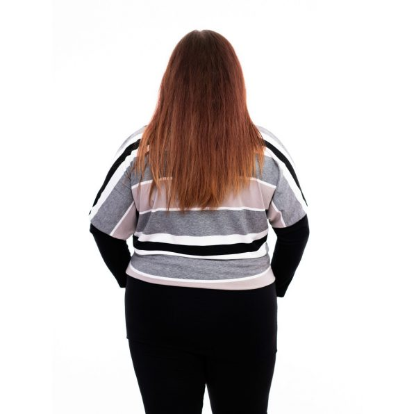 csikos tunika, passzés tunika, rucy fashion tunika, fekete-fehér tunika, divatos molett őszi ruha