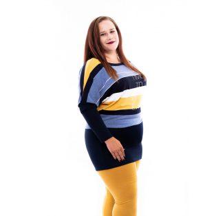 sötétkék-mustár színű őszi ruha, sötétkék-mustár molett ruha, rucy fashion őszi tunika,