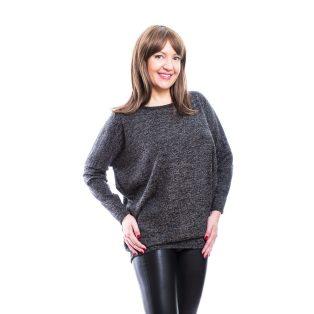 Rucy Fashion grafit szürke, vékony kötött lezser hosszú ujjú, denevér fazonú felső ezüst szállal