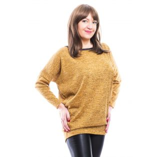 Rucy Fashion mustár vékony kötött lezser, hosszú ujjú, denevér fazonú felső ezüst szállal