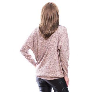 Rucy Fashion púder vékony kötött, hosszú ujjú, denevér fazonú lezser felső ezüst szállal