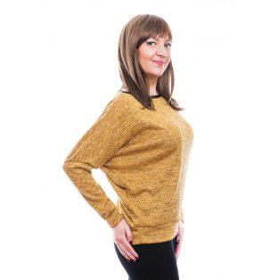 Rucy Fashion mustár, vékony kötött denevér fazonú, hosszú ujjú passzés felső ezüst szállal