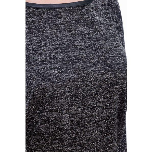 Rucy Fashion fekete, vékony kötött denevér fazonú, hosszú ujjú passzés felső ezüst szállal