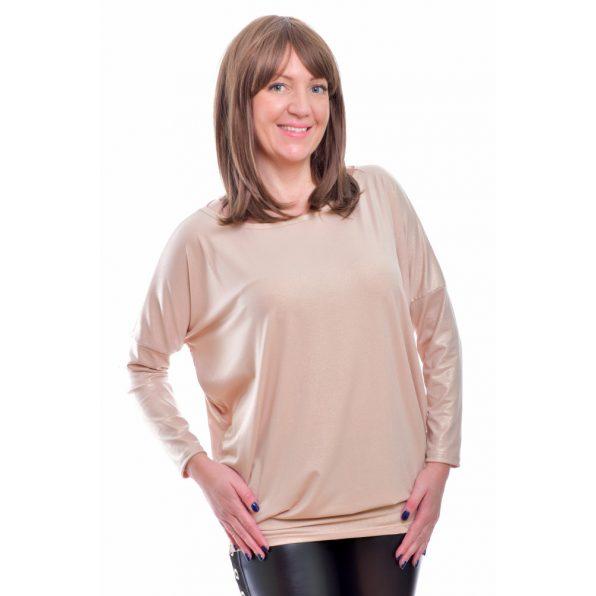 Rucy Fashion drapp metál fényű lezser felső hosszú ujjú denevér tunika